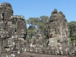 The giant faces of the Bayon temple of Angkor Thom.  Since they face east, they are best viewed at sunrise.  We did not get up that early.  :-)
