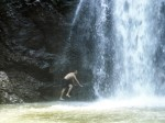 You could actually climb up behind the waterfall and jump through it.  So cool!