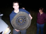 This tire's rim was bent, the other was punctured with a screw.  And both happened at the same time..  Fate?