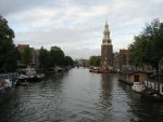 The waterways of Amsterdam are used both as taxi routes and as docks for houseboats.