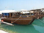 One of the traditional Dhows docked in the Doha harbor.