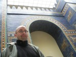 Andy stands in front of the Ishtar Gate at the Pergamon Museum in Berlin.