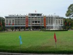 """This is the reunification palace in Ho Chi Minh City (formerly Saigon).  Our tour guide stressed that the south was """"liberated"""" from the colonialist government instituted by the United States."""
