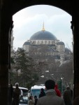 A view of the Blue Mosque from just inside the main gate of the Topkapi Palace.