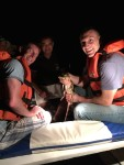 Our first adventure was a night outing on a smaller boat into the flooded forest. Right after our guide Ruben gave us his safety spiel about wearing life jackets, he took his off, climbed onto the bow of the boat, and grabbed this little baby cayman out of the water. Caymans are a relative of the crocodile but are not aggressive.