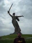 The statue of Mother Russia was incredibly beautiful and huge.  She is fighting the battle with the sword in her right hand and calling for reinforcements with her left.