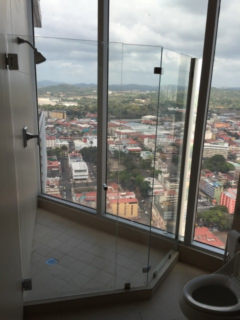 We had rented this apartment for the week off of AirBnB.com. We were in the third highest building in Panama on the 43rd floor. The views on all sides were amazing. However, it did take a bit to get used to showering in front of the whole city.