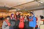 """This is our crew in the """"mud room"""" where all of the soiled outer layers stay after a landing. Our ship had 138 passengers but only maybe 20 of us were under the age of 45 so we buddied up pretty quickly."""