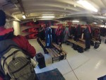 Today was our first day getting in the kayaks! Here we are in the mudroom gearing up.