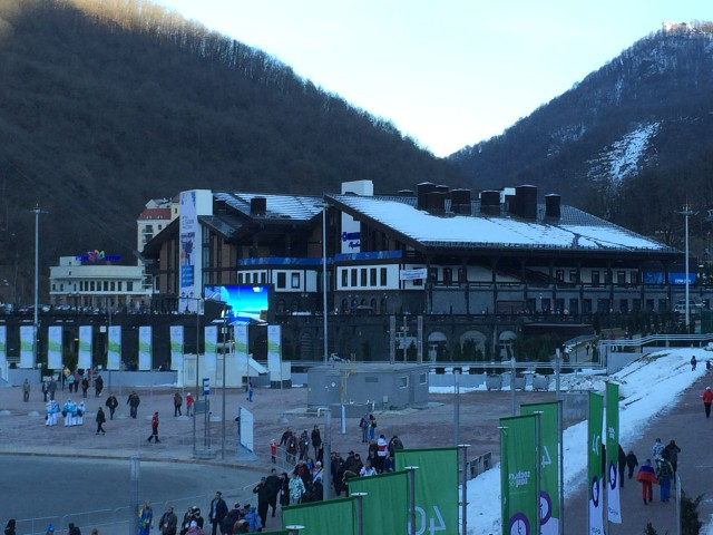 This is the train station at Krasnaya Polyana. It is the hub of the Olympic mountain cluster.