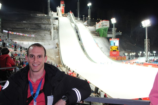 Our first event was the prelims of the individual men's Ski Jumping K-95 at 8:30PM on Saturday evening.